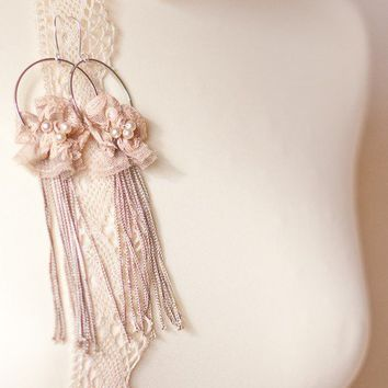 Bridal Earrings Vintage French Lace | daimblond