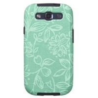Mint Green With Floral Pattern Graphic Art Galaxy SIII Cover from Zazzle.com