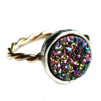 14k Gold-fill Twisted Ring with Rainbow Drusy