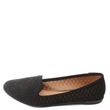 Perforated Smoking Slipper Loafers by Charlotte Russe - Black