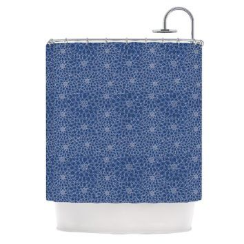 """Kess InHouse Julia Grifol """"White Flowers on Blue"""" Navy Blue Shower Curtain, 69 by 70-Inch"""
