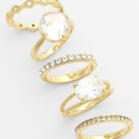 Women's Ariella Collection Mixed Stackable Rings - Clear/