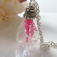 Real Flower Botanical Necklace Handblown Glass by WishesontheWind