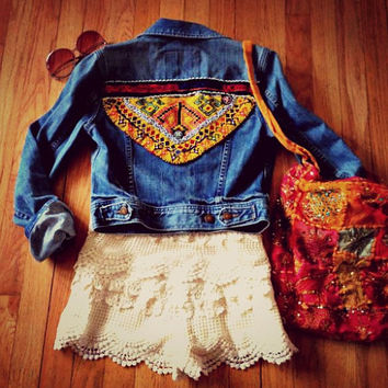 Gypsy Tribal Denim Jacket Kuchi Vintage Beaded Patchwork Jean Shirt Festival Boho Coachella Free People Southwestern Western Cropped XS S M