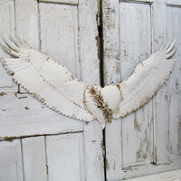 Santos angel wings wall decor heart center painted French Nordic white, rusted metal set of wings wall hanging home decor anita spero design