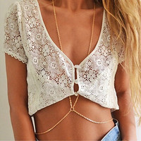 Sexy gold tone Double Belly / Body Chain -wear over or under- beach jewelry- Gypsy, Boho, Body Chains, Belly dancing-accessorize anything