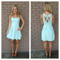 Mint Cascade Bow Back Dress