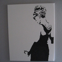 "Audrey Hepburn Graffiti Stencil Pop Art 16""x20"""