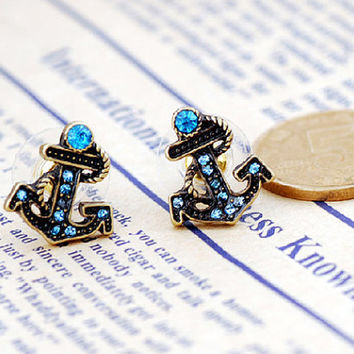 ancient vintage style,anchor earrings with blue crystal ,unique earrings EH45
