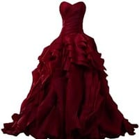Sunvary Luxurious Burgundy Ball Gown Quinceanera Dresses for Prom with Ruffles - US Size 2- Burgundy