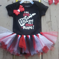 Baby Tutu Onesuit Outfit  - My Dad Rocks - 3 months - 12 months - 18 months - Boutique Toddler Dress Up - Daddy's Girl