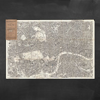 "58"" x 38"" - Vintage Map, Large Print of Pocket Map of London"