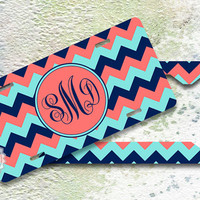 Set of TWO - Personalized License Plate and License Plate Frame - Navy Blue, Tiffany Blue and Coral chevron, personalized front car tags