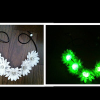 Light Up Daisy Flower Headband, Flower Crown, Flower Halo, Festival Wear, EDC, Ezoo, Rave, Coachella, Beach, Hippie Headband