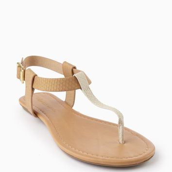 Tan Ivory Colorblock Textured T-Strap Sandal