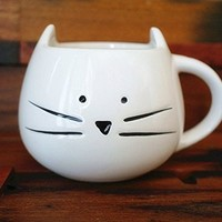 Lovely Cute Little White Cat Coffee Milk Ceramic Mug Cup (Style B)