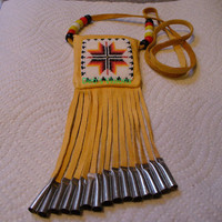 Native American style handmade,handbeaded leather Medicine bag necklace