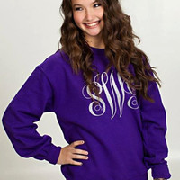 Monogrammed crewneck sweatshirt customized with your initials.
