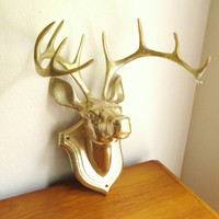 Vintage Brass Deer Head Wall Hanging, Large Buck, 10 Point Buck Head, Wall Mount, Faux Taxidermy