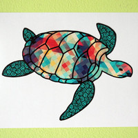 Sea Turtle Colorful Triangle Pattern Car Decal Bumper Sticker Teal Blue Red