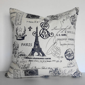 Shabby Chic Decorative Paris Traveler Stamp Passport Pillow Cover, 18 x 18,  Eifel Tower, Blue and White