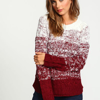 Burgundy Ombre Cable Knit Sweater