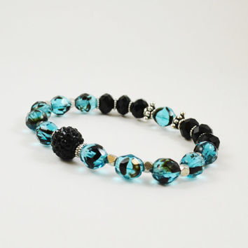 Pave bead bracelet black stretch bracelet blue crystal bracelet Beaded stack bracelet stretchy bracelet faceted crystal beads shamballa