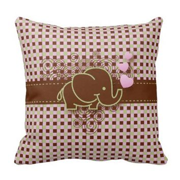 Pink and Brown Checkered Baby Elephant Throw Pillow