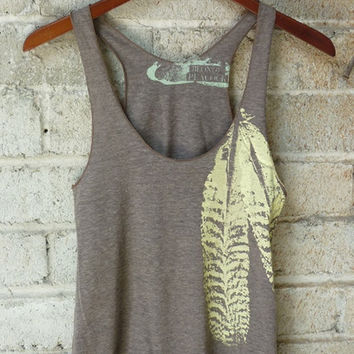 Cocoa and Pale Yellow Feathers Tri-Blend Racerback Tank Top
