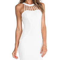 DRESS THE POPULATION Erin Mini Dress in White
