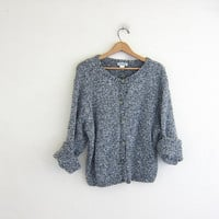 Vintage gray and white cardigan sweater. speckled sweater. Slouchy knit cardigan.