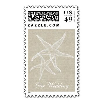 Star Fish Linen Beach Wedding Postage Stamp