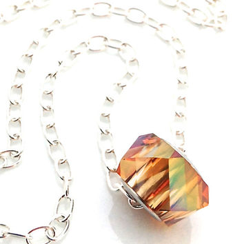 Gold Crystal Necklace, Simple, Swarovski, Orange, Copper Charm, Small Pendant, Fall Jewelry, Sterling Silver