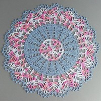 """Lovely Crocheted Variegated Pink Blue White Doily - 13"""""""