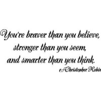 Your braver...Winnie the Pooh Wall Quotes Sayings Removable Wall Lettering, B...