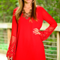 Lots Of Lace Dress, Red