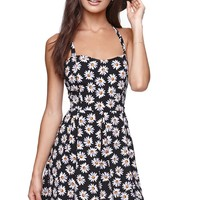 LA Hearts Lace Up Dress - Womens Dress - Floral -
