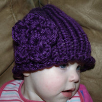 crochet hat with large flower by mylittlebows on Etsy
