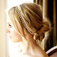Crystal Headband Ribbon Tie on Silver or Gold Tone Bridal Special Occasion Hair Accessory Wedding Accessories