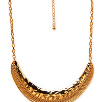 FOREVER 21 Rustic Crescent Bib Necklace Gold One