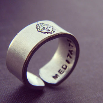 Meditate ring buddha Hand stamped outside  3/8 inch cuff yogi  ring