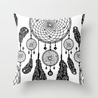 Dreamcatcher (Black & White) Throw Pillow by 83 Drops