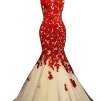 Sunvary Champagne and Red Mermaid Lace Prom Dresses for Evening Formal Gowns Long - US Size 4- Champagne and Red