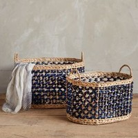 Marguerite Ribboned Basket by Anthropologie Blue Motif Set Of 2 Office