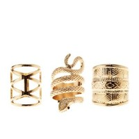 Gold Coiled Snake & Aztec Rings - 3 Pack by Charlotte Russe
