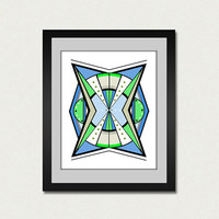 Abstract art print. Geometric print from original painting green and blue.