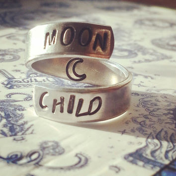 Moon child  aluminum ring swirl style  1/4 inch