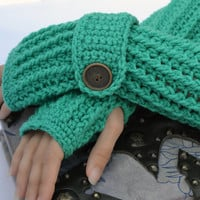 Jadeite crochet arm warmers, fingerless gloves ribbed with wrist strap and buttons