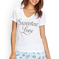FOREVER 21 Sweetest Love PJ Set White/Black