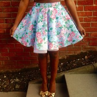 Blue Floral Full Circle Skirt | Style Icon`s Closet
